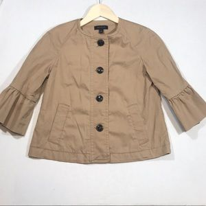 Ann Taylor Tan Bell Sleeve Button Down Jacket NWOT